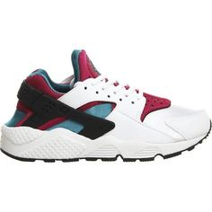 Colour-block air huarache mesh trainers found on Polyvore featuring shoes, sneakers, nike, basket, huaraches, white emerald, print sneakers, color block shoes, nike sneakers and perforated sneakers