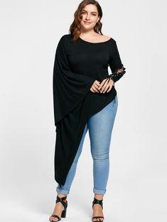 Plus Size Lace Up Batwing Sleeve Asymmetric T-shirt - BLACK XL
