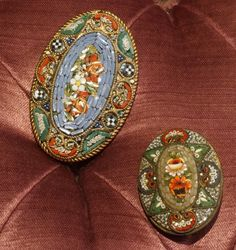 Italian Mosaic Pins  		two Italian mosaic pin decor flowers