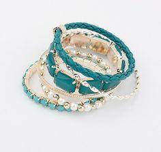 Fashion beautiful Bohemian Style  Multilayer Metal green Jewelry Sets