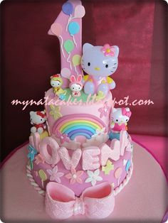 Hello Kitty birthday cake but with bright neon colors Hello Kitty Theme Party, Hello Kitty Birthday Cake, Hello Kitty Themes, Kitty Party, Cupcakes, Cupcake Cakes, Macaroons, Torta Hello Kitty, Cake Pops