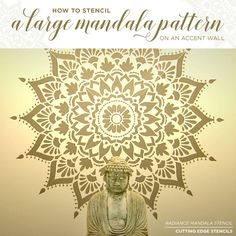 Cutting Edge Stencils shares a tutorial on how to stencil an accent wall using a large 74 inch Radiance Mandala Stencil.