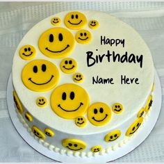 Cute Smiley Yellow Birthday Cake With Your Name.Print Name on Smiley Cake.Happy Birthday Yellow Cake Pics With Name For Whatsapp DP Picture.Name Birthday Cake
