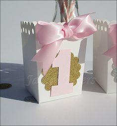 Girls First Birthday Popcorn Favor Boxes