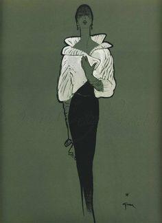 1950 Rene Gruau for flair Magazine, Maxamillian Furs