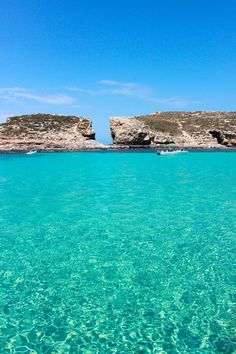 The clear waters of the Comino Island in Malta.