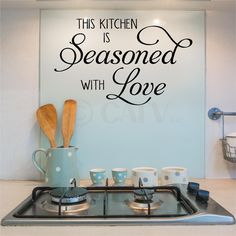 This Kitchen Is Seasoned With Love vinyl lettering wall decal kitchen sticker