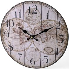 Wooden World Map Clock. Approx 13-inches round. Requires 1 AA battery, not included. Ships in plastic wrapped cardboard box. $13.00