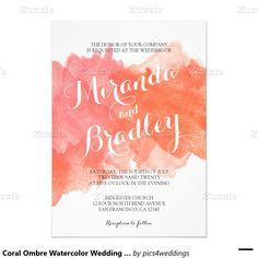 Korallenrote Ombre Aquarell-Hochzeits-Einladungen 12,7 X 17,8 Cm Einladungskarte