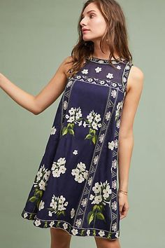 Maeve Rosa Embroidered Swing Dress