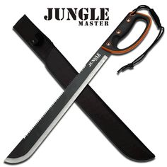 "Jungle Master ""Bulldozer"" 24"" Machete/This Jungle Master ""Bulldozer"" 24"" Machete has an 18"" silver and black two tone finish. It is constructed of stainless steel blade with large serrated teeth along the top edge. The non-slip rubberized handle is orange and black with a D-Guard design with a black lanyard attached to the back of the handle."
