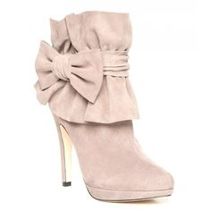 Bourne Ruffle Cuff and Bow Detailed Elle Suede Ankle Boots - Heels from Spoiled Brat UK found on Polyvore