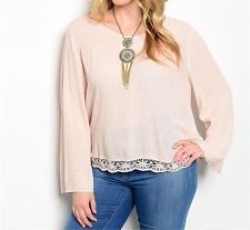 Plus Size Boho Top (Blush Pink) $13.91