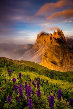 An awesome sunset in the Dolomites, Italy.
