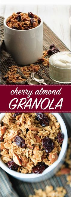 Cherry Almond Granola - Homemade cherry almond granola - healthier and ...