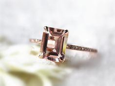 Natural Morganite rings 7x9mm Emerald Cut Morganite por InOurStar