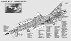 Republic Thunder Warrior - a Mach 4 Interceptor - Powered by a Wright Turbojet and a Ramjet 1 Mock-up Built Fighter Aircraft, Fighter Jets, Blueprint Drawing, Technical Illustration, Aircraft Design, Cutaway, Military Aircraft, Aviation, Air Force