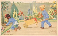 """Old children's book illustration, by Hannie Holt....""""The Gardeners""""."""