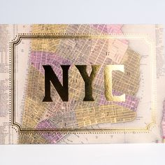 Vintage NYC maps with gold foil make beautiful cards for anyone who loves the city.