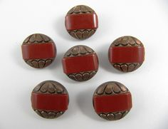 Lot of 6 Vintage 20 mm Copper & Brick Red Plastic Buttons by TheTreasureBoxOrna on Etsy