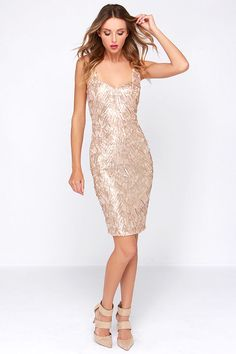 Opera House Gold Midi Sequin Dress at Lulus.com!  GREAT website for fun dress options. Decent prices.