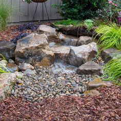 Small Water Features, Outdoor Water Features, Water Features In The Garden, Backyard Plan, Ponds Backyard, Backyard Landscaping, Backyard Waterfalls, Waterfall Landscaping, Garden Ponds