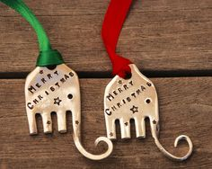 Set of 2 ELEPHANT ornaments stamped with Merry Christmas with