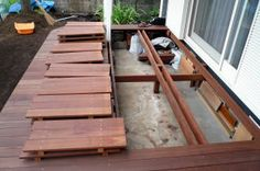 Easy deck for floor construction - part You can have your boards already put together as shown, or just screw them in place using cheap decking screws. Deck Design, House Design, Easy Deck, Rooftop Garden, Interior Garden, Outdoor Living, Outdoor Decor, Building A Deck, Backyard