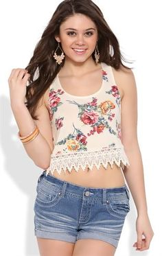 Deb Shops floral print racerback crop tank top with crochet trim bottom $8.00