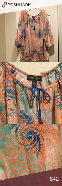 2x peach blue green swirl 3/4 length sleeve NWT Ladies Ralph Lauren 2x cotton3/4 length sleeve tie neck blouse in very soft cotton. Print is a swirl of peach turquoise blues and greens . Really light and airy without being see through. NWOT Ralph Lauren Tops Blouses