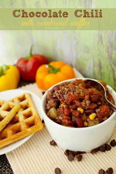 Chocolate Chili with Cornbread Waffles - fun and tasty take on the classic recipe!