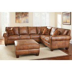 Sanremo Top Grain Leather Sectional Sofa And Ottoman Set By Greyson Living
