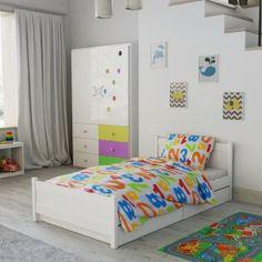 Dětské povlečení do postýlky bílé modré červené zelené oranžové žluté číslice čísla Hello Kitty, Toddler Bed, Furniture, Design, Home Decor, Products, Child Bed, Decoration Home, Room Decor