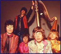 Original '60's Rolling Stones:  Bill Wyman,KiethRichards (back); Charlie Wattts (in bright pink shirt), Mick Jagger, Brian Jones   50 years of Stones publicity photos