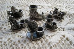 6 Miniature Pewter Birthday Candle Holders - Nursery Rhyme Mother Goose Theme
