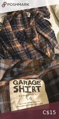 Garage boyfriend fit flannel Neutral coloured flannel with hoodie and strings. Asking $15 obo:) Garage Tops Blouses Flannel, Neutral, Garage, Boyfriend, Blouses, Hoodies, Fitness, Shirts, Things To Sell