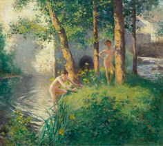 """The Bathing Pool,"" Willard Leroy Metcalf, oil on canvas, 26 x private collection. Cool Landscapes, Landscape Paintings, Fine Arts School, Old Lyme, American Impressionism, Impressionist Artists, Fine Art Auctions, Swimming Holes, Global Art"