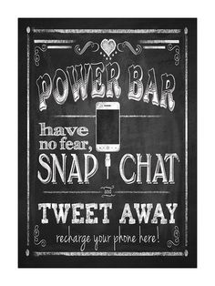Power Bar Charging Station Chalkboard Sign for a Wedding Reception or party ($3 instant download via PSPrintables on Etsy)