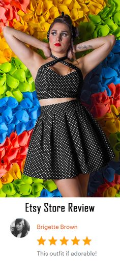 Give a retro touch to your look with this polka dot skater skirt dress, 2 pieces dress. This skater dress is perfect to wear a crop top without showing too much skin, if you're not into that. GET YOURS NOW!!