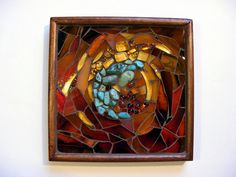 Wooden box, turquoise, glass beads, stained glass.  If I am not late, I would like to post it into the 3D Mosaic challenge.