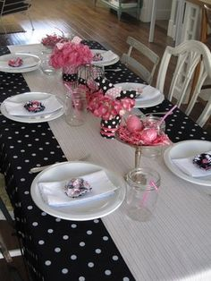 Cool polka dots and pink flowers! table settings, polka dots, girl birthday, baby shower ideas, girl baby showers, black white, babi shower, parti, bridal showers