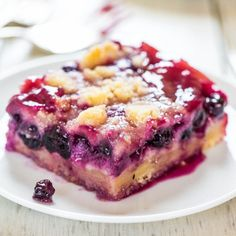 Blueberry Pie Bars- use strawberries or even triple berries