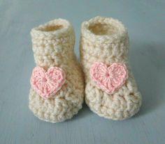 Baby Girl BootiesNewborn Heart Shoes Pink Heart by HowCuteAreYou, $16.50