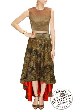 Shades of brown crop top with textured high low skirt by SAMANT CHAUHAN #SAMANTCHAUHAN #Designer #Skirt #Highlow