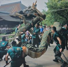 The Seiryu-e Festival at Kiyomizu Temple will be held this year from September 15 − 17!  A long blue dragon (representing the sacred guardian of Kyoto) marionette carried by many men will dance through the temple precinct.  The pictures shown here are from their wall poster and give you a bit of an idea what this is all about. Shame on me, I have never been to this festival, will try to attend this year and shoot some photo's.