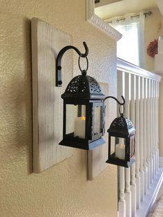 Set of Hanging Lanterns Farmhouse Lantern Sconces Black