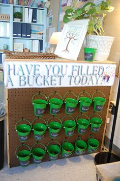 Bucket Fillers // trying to think of a way to hang my buckets next year. Jacot Jacot Davis could we get one of these board things with the holes in it for cheap? Preschool Behavior, Classroom Behavior, New Classroom, Classroom Design, Kindergarten Classroom, Classroom Organization, Classroom Management, Classroom Ideas, Behavior Management