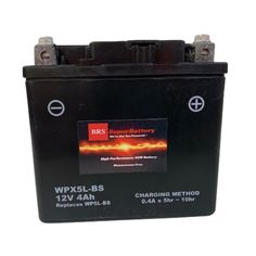 Arrived fully charged and ready to go out the box. My machine started up strong. -J. Turner The WPX5L-BS high performance AGM battery is the perfect choice for power sports riders. This battery is compatible with Motorcycles, ATV's, Side by Sides, UTV's, Jet Skis, Snowmobiles, Dirt Bikes, and more. The BRS Super Battery can handle anything you can throw at it: Rough terrain, hill jumps, muddy swamps, rough waters, and long rides are no problem. Your toys will start and run strong without a pro