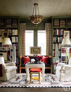 grasscloth ceiling, green bookshelves
