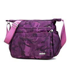 Women Nylon Camouflage Shoulder Bags Front Pockets Outdoor Waterproof Crossbody Bags